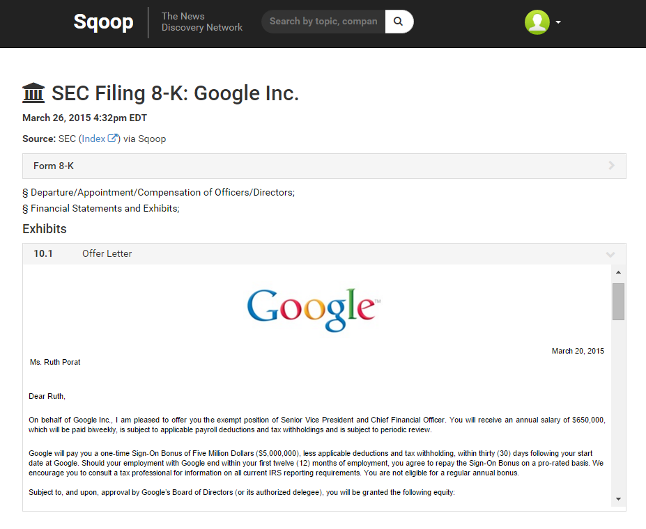 Google 8K with offer letter